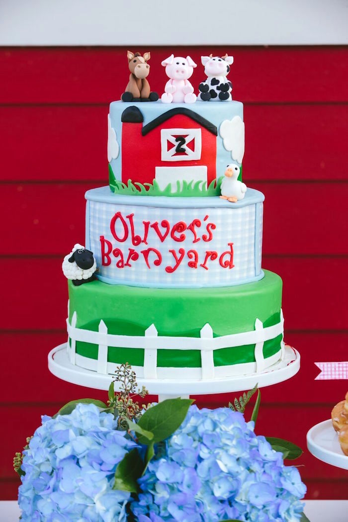Barnyard cake from a Preppy Barnyard Farm Party on Kara's Party Ideas | KarasPartyIdeas.com (9)