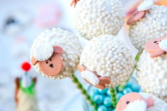 Sheep cake pops from a Preppy Barnyard Farm Party on Kara's Party Ideas | KarasPartyIdeas.com (7)