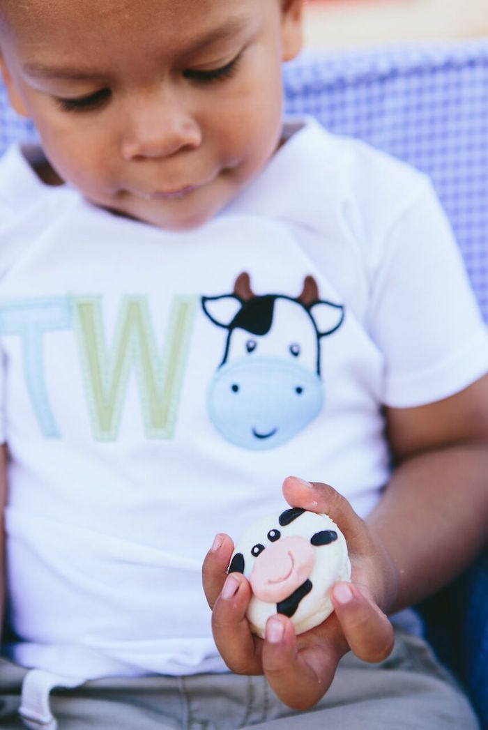 Cow macaron from a Preppy Barnyard Farm Party on Kara's Party Ideas | KarasPartyIdeas.com (4)