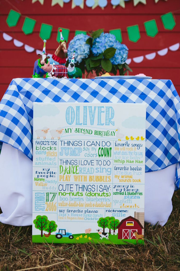 Fact board from a Preppy Barnyard Farm Party on Kara's Party Ideas | KarasPartyIdeas.com (47)
