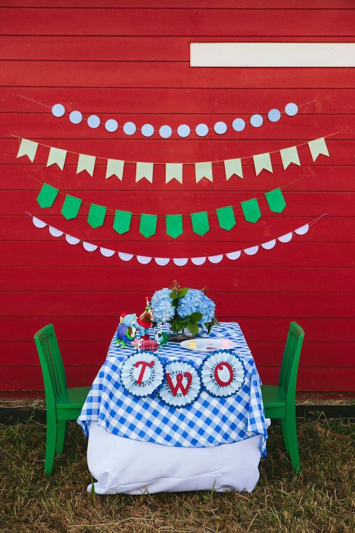 Guest table from a Preppy Barnyard Farm Party on Kara's Party Ideas | KarasPartyIdeas.com (46)