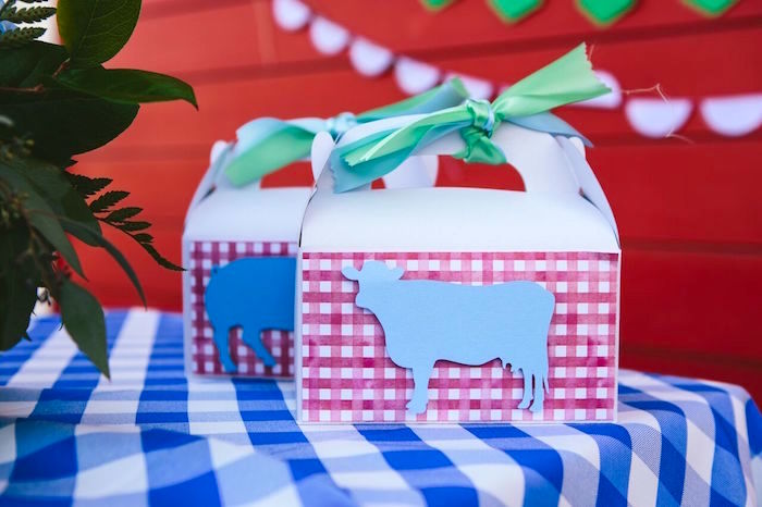 Cow gable box from a Preppy Barnyard Farm Party on Kara's Party Ideas | KarasPartyIdeas.com (43)