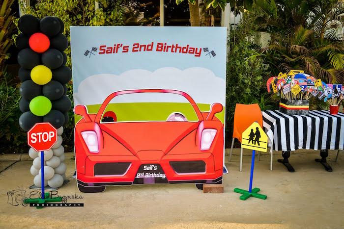 Kara S Party Ideas Race Car Photo Booth From A Race Car
