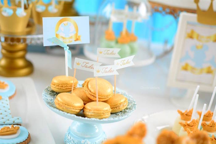 Gold macarons from a Royal Mickey Mouse Birthday Party on Kara's Party Ideas | KarasPartyIdeas.com (8)