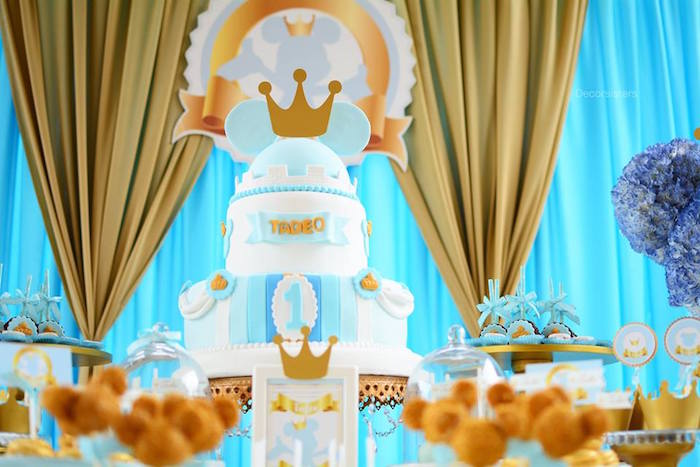 Royal Mickey Mouse Cake from a Royal Mickey Mouse Birthday Party on Kara's Party Ideas | KarasPartyIdeas.com (4)