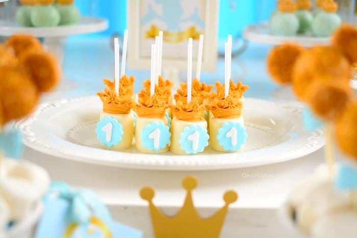 Marshmallow pops topped with crowns from a Royal Mickey Mouse Birthday Party on Kara's Party Ideas | KarasPartyIdeas.com (18)