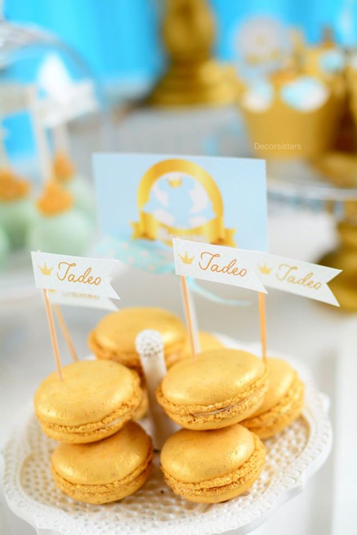Gold macarons from a Royal Mickey Mouse Birthday Party on Kara's Party Ideas | KarasPartyIdeas.com (17)