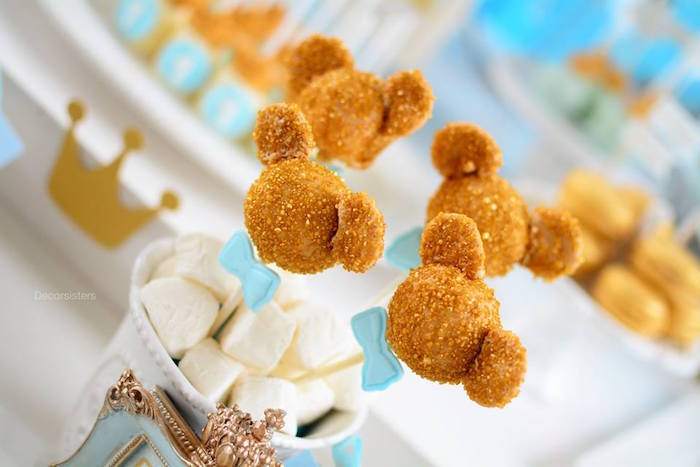 Gold Mickey Mouse Cake Pops From A Royal Birthday Party On Karas Ideas