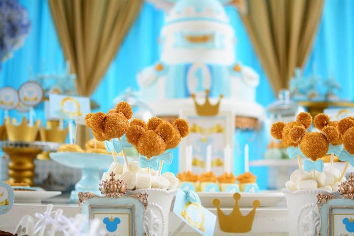 Gold Mickey Mouse cake pops from a Royal Mickey Mouse Birthday Party on Kara's Party Ideas | KarasPartyIdeas.com (14)
