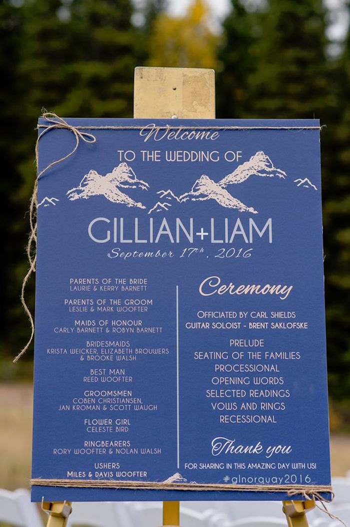 Welcome sign from a Rustic Chic Mountain Wedding on Kara's Party Ideas | KarasPartyIdeas.com (18)