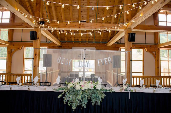 Head table from a Rustic Chic Mountain Wedding on Kara's Party Ideas | KarasPartyIdeas.com (14)