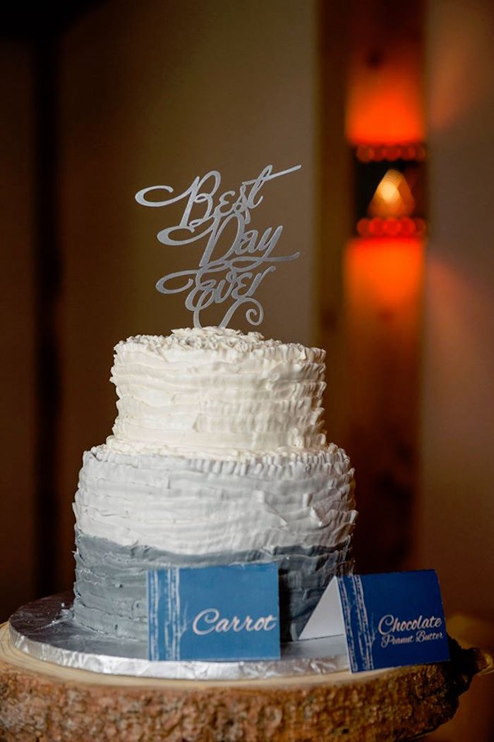 Rustic chic ruffle cake from a Rustic Chic Mountain Wedding on Kara's Party Ideas | KarasPartyIdeas.com (13)