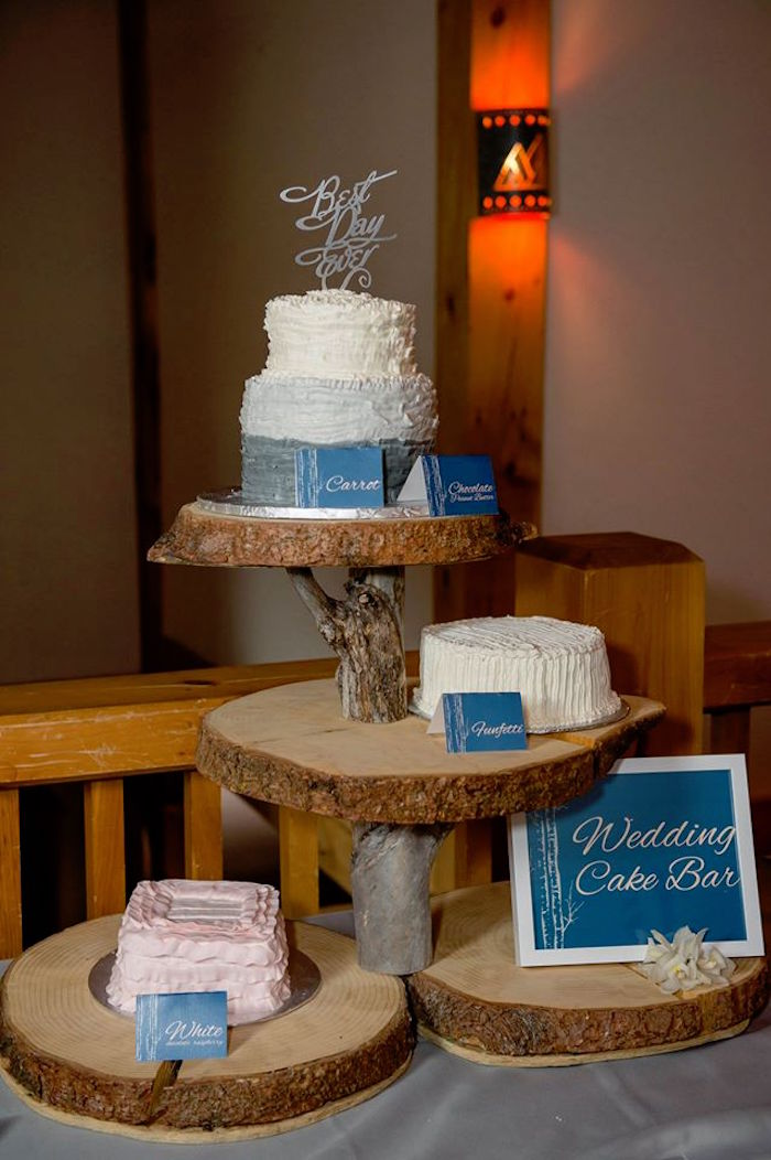 Wedding cake bar from a Rustic Chic Mountain Wedding on Kara's Party Ideas | KarasPartyIdeas.com (12)