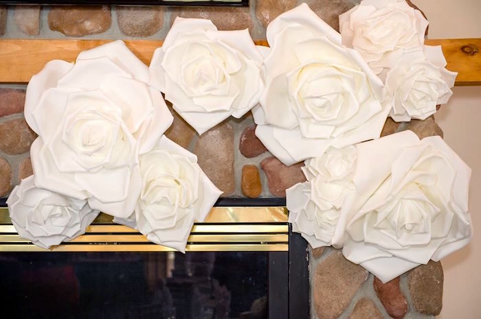 Paper flower banner + backdrop from a Rustic Chic Mountain Wedding on Kara's Party Ideas | KarasPartyIdeas.com (30)