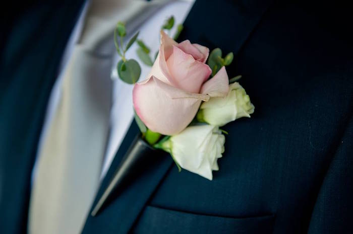 Rose boutonniere from a Rustic Chic Mountain Wedding on Kara's Party Ideas | KarasPartyIdeas.com (6)