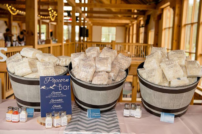 Rustic popcorn bar from a Rustic Chic Mountain Wedding on Kara's Party Ideas | KarasPartyIdeas.com (5)