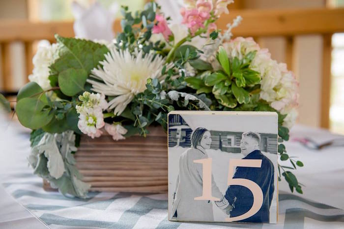 Floral table centerpiece + photo block from a Rustic Chic Mountain Wedding on Kara's Party Ideas | KarasPartyIdeas.com (28)