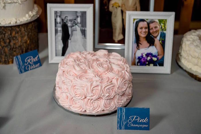 Pink champagne rosette cake from a Rustic Chic Mountain Wedding on Kara's Party Ideas | KarasPartyIdeas.com (27)