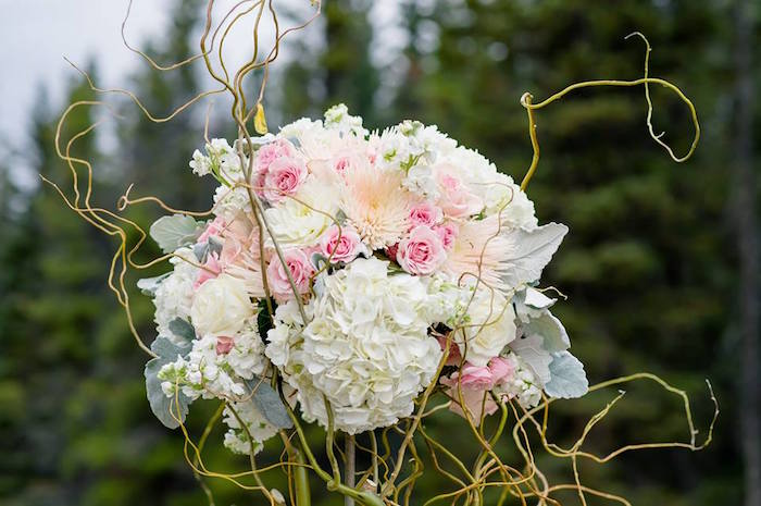 Rustic floral centerpiece from a Rustic Chic Mountain Wedding on Kara's Party Ideas | KarasPartyIdeas.com (26)