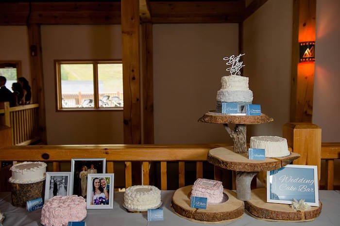 Wedding cake bar from a Rustic Chic Mountain Wedding on Kara's Party Ideas | KarasPartyIdeas.com (23)