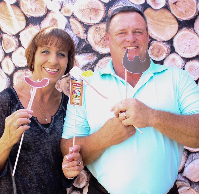 Wood pile photo booth from a Rustic Woodland Camping Birthday Party on Kara's Party Ideas | KarasPartyIdeas.com (16)