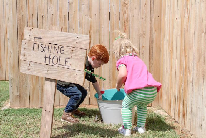Fishing hole from a Rustic Woodland Camping Birthday Party on Kara's Party Ideas | KarasPartyIdeas.com (15)