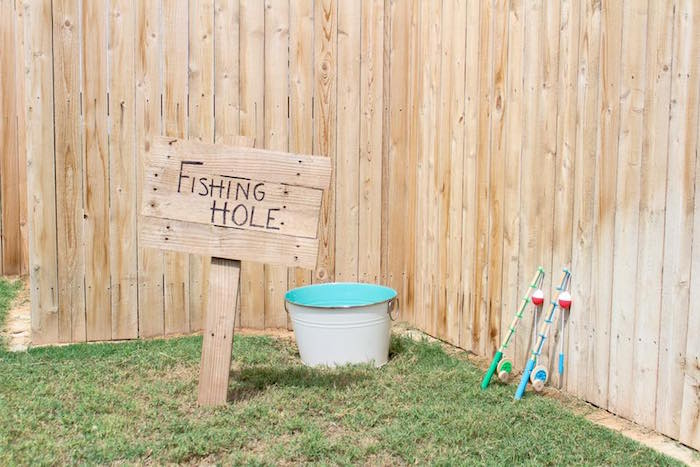 Fishing hole from a Rustic Woodland Camping Birthday Party on Kara's Party Ideas | KarasPartyIdeas.com (13)