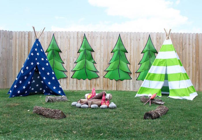 Campground partyscape from a Rustic Woodland Camping Birthday Party on Kara's Party Ideas | KarasPartyIdeas.com (12)