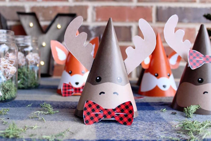 Moose and fox party hats from a Rustic Woodland Camping Birthday Party on Kara's Party Ideas | KarasPartyIdeas.com (9)