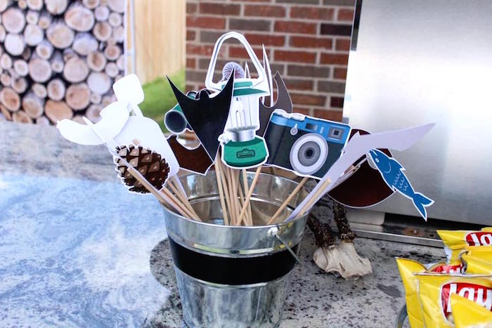 Camping photo booth props from a Rustic Woodland Camping Birthday Party on Kara's Party Ideas | KarasPartyIdeas.com (8)