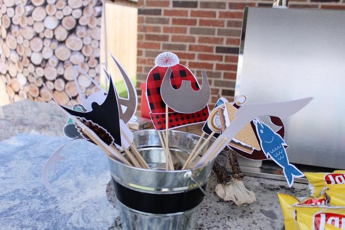Photo booth props from a Rustic Woodland Camping Birthday Party on Kara's Party Ideas | KarasPartyIdeas.com (26)