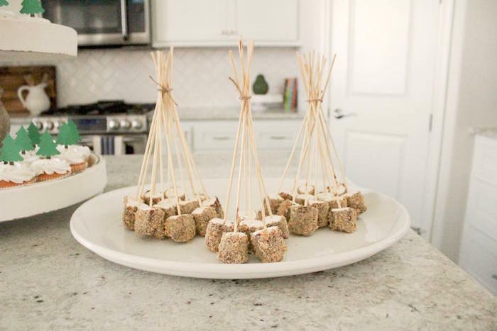 Marshmallow pop teepees from a Rustic Woodland Camping Birthday Party on Kara's Party Ideas | KarasPartyIdeas.com (23)