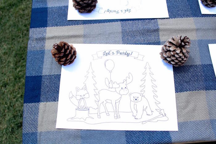 Camping coloring page weighted down by pinecones from a Rustic Woodland Camping Birthday Party on Kara's Party Ideas | KarasPartyIdeas.com (20)