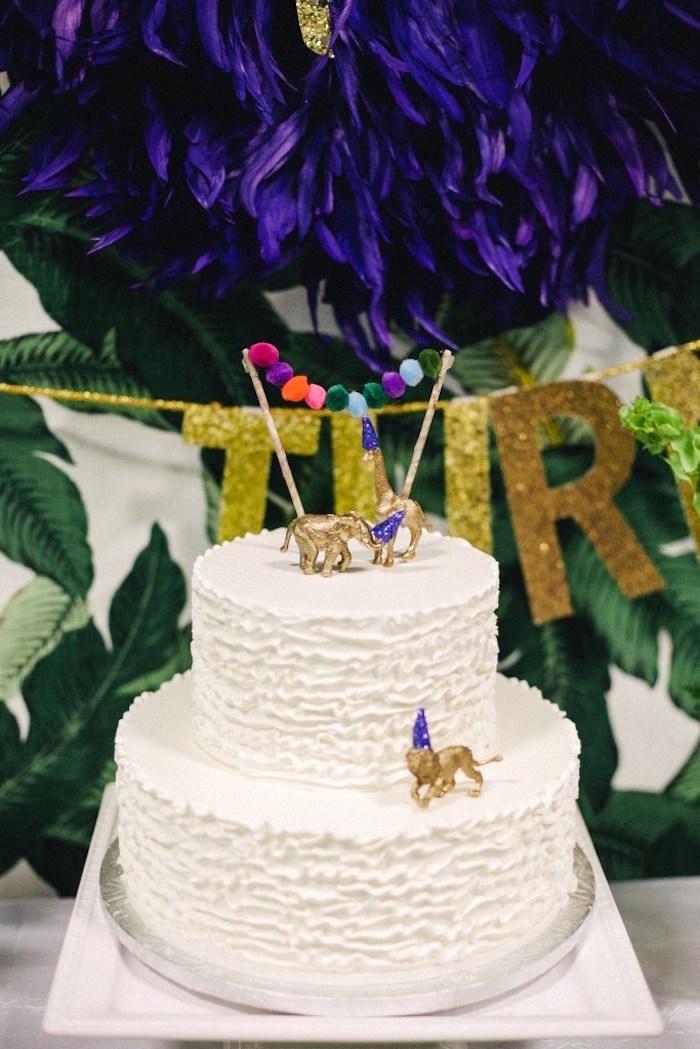 White ruffle cake from a Safari Animal Birthday Party on Kara's Party Ideas | KarasPartyIdeas.com (14)