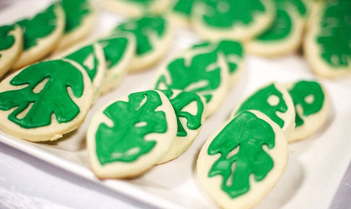 Palm leaf cookies from a Safari Animal Birthday Party on Kara's Party Ideas | KarasPartyIdeas.com (16)