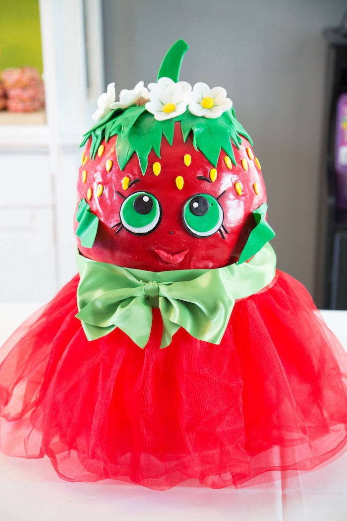 Strawberry Kiss - Shopkins Cake from Abriella's Shopkins Birthday Party on Kara's Party Ideas | KarasPartyIdeas.com (17)