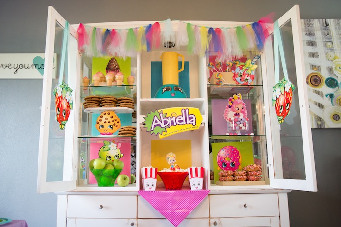 Desserts & snack spread from Abriella's Shopkins Birthday Party on Kara's Party Ideas | KarasPartyIdeas.com (16)