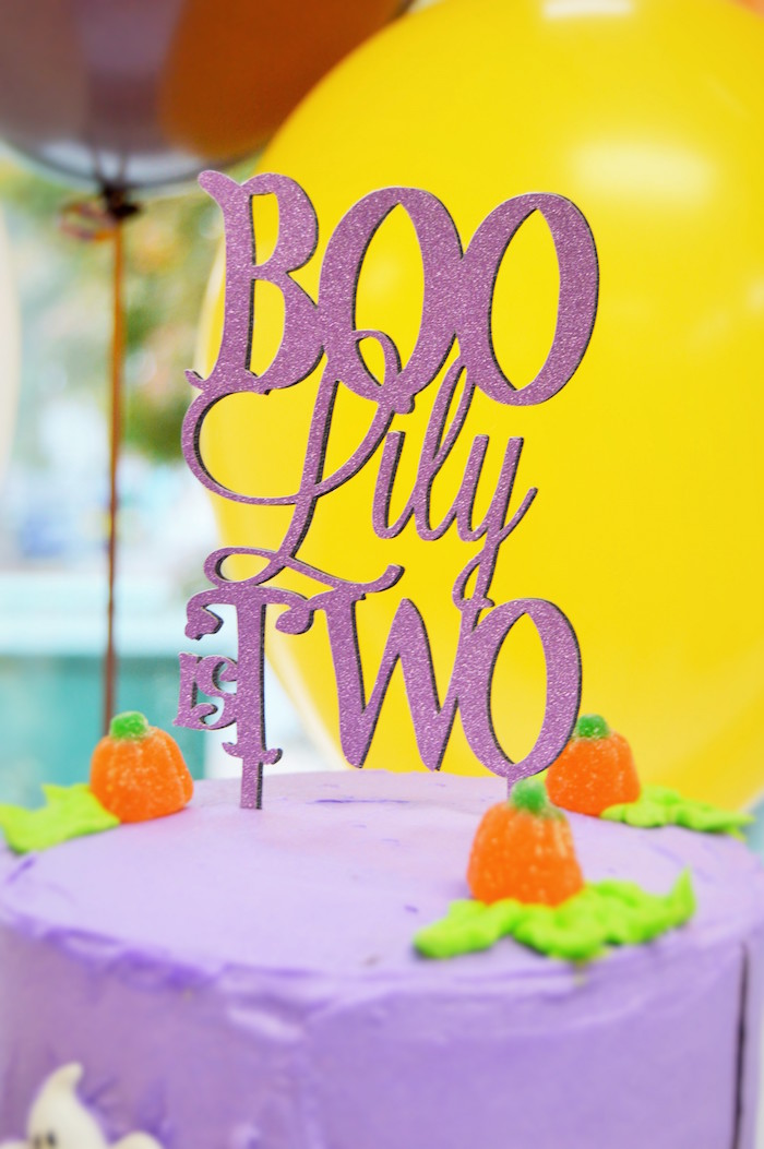 Purple glitter cake topper from a Spooktacular Halloween Birthday Party on Kara's Party Ideas | KarasPartyIdeas.com (25)