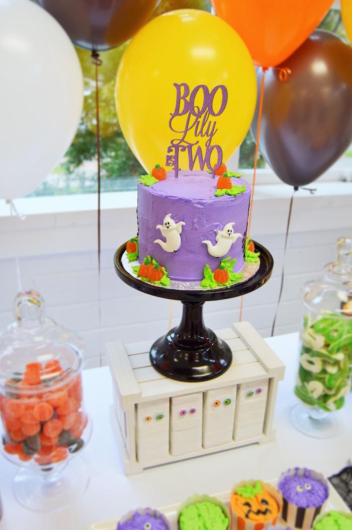 Cake from a Spooktacular Halloween Birthday Party on Kara's Party Ideas | KarasPartyIdeas.com (24)