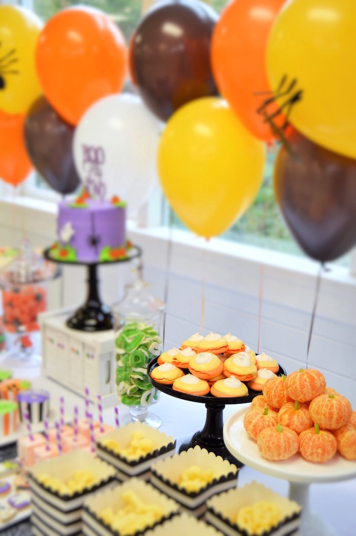 Sweet table details from a Spooktacular Halloween Birthday Party on Kara's Party Ideas | KarasPartyIdeas.com (22)