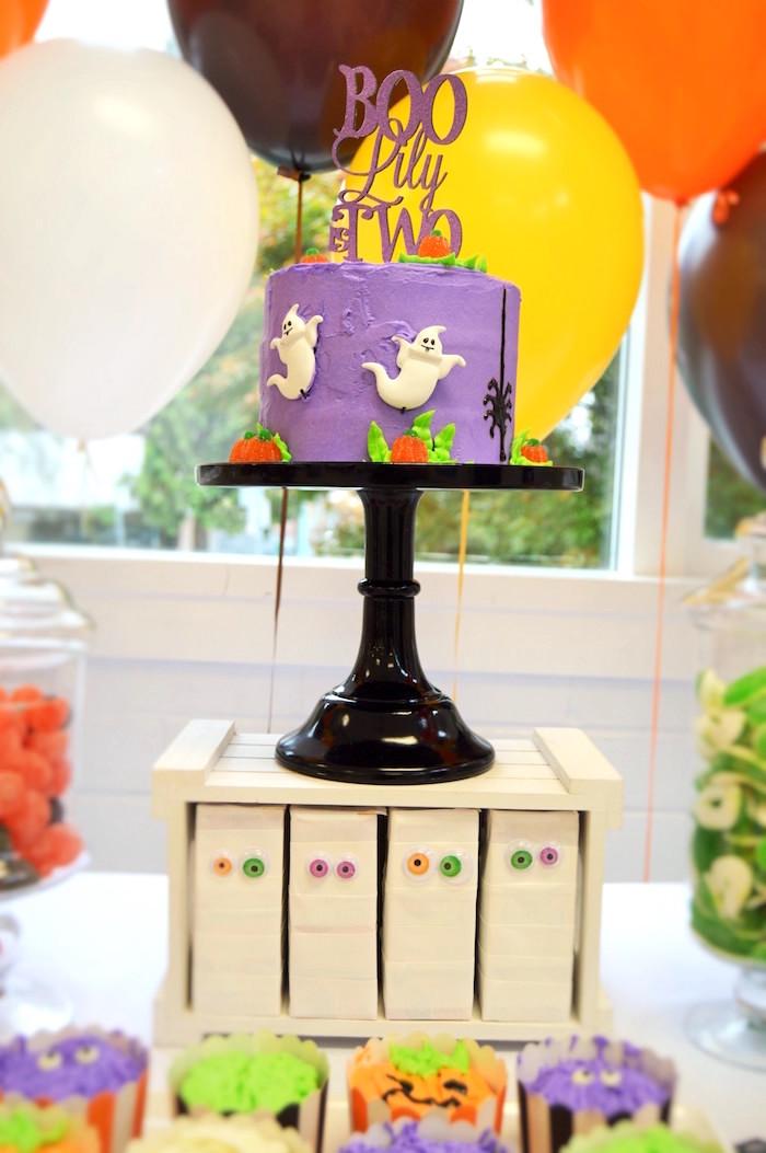 Halloween ghost cake from a Spooktacular Halloween Birthday Party on Kara's Party Ideas | KarasPartyIdeas.com (18)