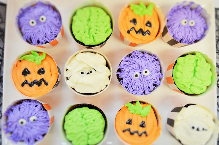 Monster & ghoul cupcakes from a Spooktacular Halloween Birthday Party on Kara's Party Ideas | KarasPartyIdeas.com (16)