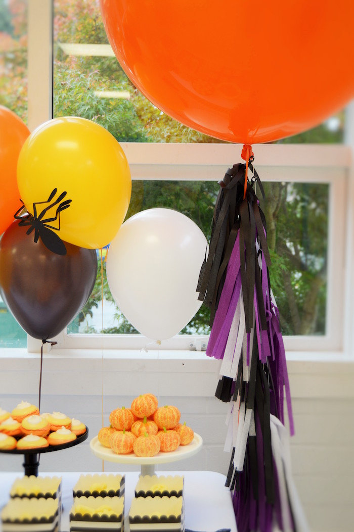 Party balloons from a Spooktacular Halloween Birthday Party on Kara's Party Ideas | KarasPartyIdeas.com (15)