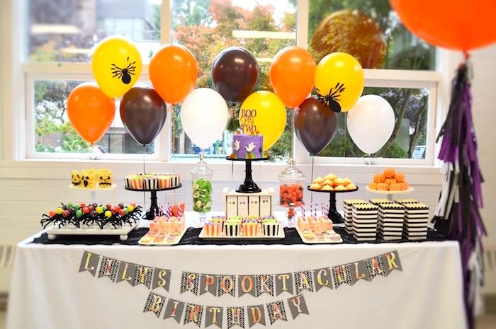 Halloween dessert table from a Spooktacular Halloween Birthday Party on Kara's Party Ideas | KarasPartyIdeas.com (14)