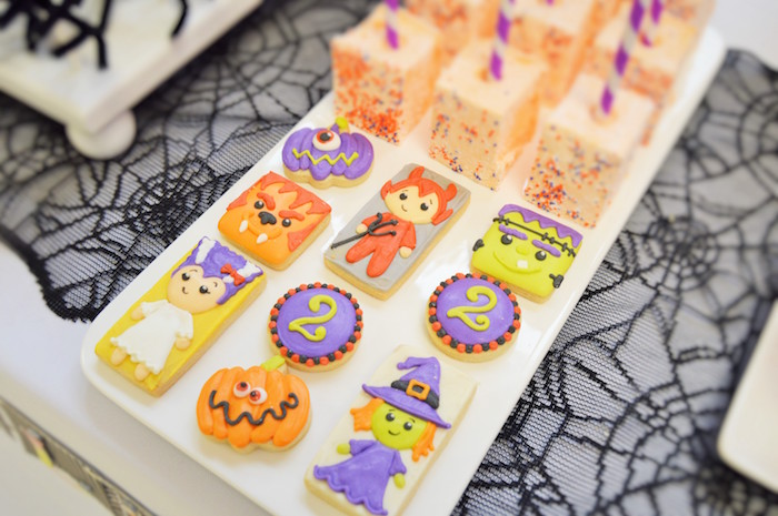 Monster cookies from a Spooktacular Halloween Birthday Party on Kara's Party Ideas | KarasPartyIdeas.com (11)