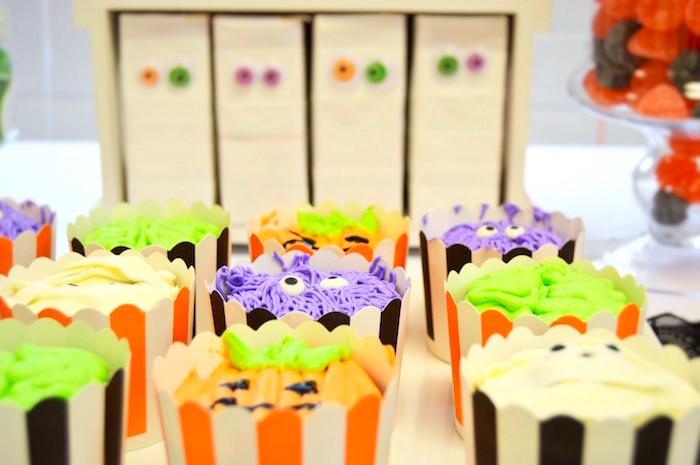 Cupcakes from a Spooktacular Halloween Birthday Party on Kara's Party Ideas | KarasPartyIdeas.com (10)