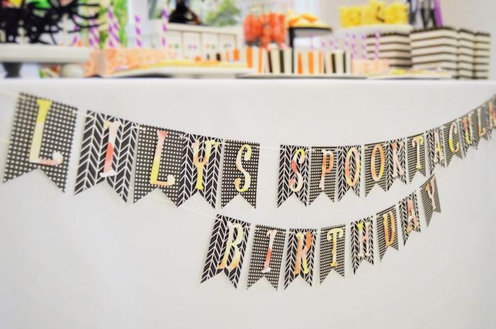 Halloween banner from a Spooktacular Halloween Birthday Party on Kara's Party Ideas | KarasPartyIdeas.com (9)