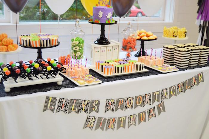 Dessert spread from a Spooktacular Halloween Birthday Party on Kara's Party Ideas | KarasPartyIdeas.com (8)