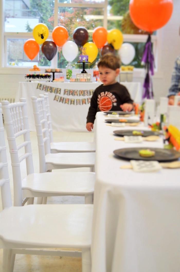 Guest table from a Spooktacular Halloween Birthday Party on Kara's Party Ideas | KarasPartyIdeas.com (4)