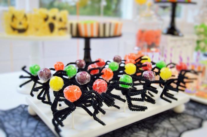 Lollipop spiders from a Spooktacular Halloween Birthday Party on Kara's Party Ideas | KarasPartyIdeas.com (30)